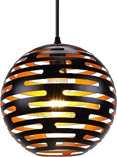 LIGHTESS Suspension Luminaire Industrielle Eclairage de Plafond Rétro E27 Lampe Pendante Vintage Plafonnier en Métal Noir ...