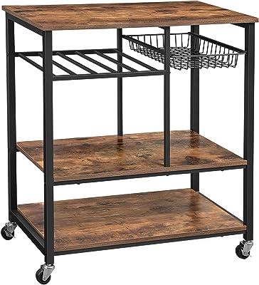 Amazon.com: Giantex - Carrito para microondas de madera de 3 ...