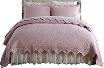 3 Pieces of Solid Color Bedding Set, Jacquard Coverlets with 2 Pillowcases, Lightweight Throw for All Season Pink 240×260cm