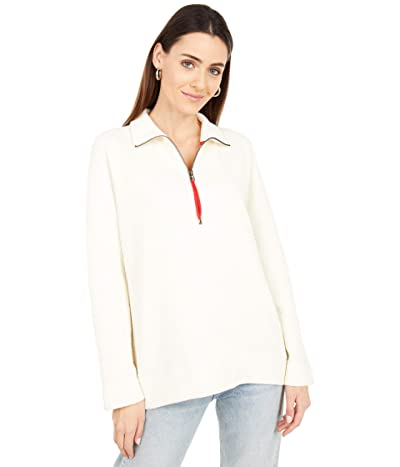 Lilla P Textured Knit Zip Front Sweatshirt (Snow) Women