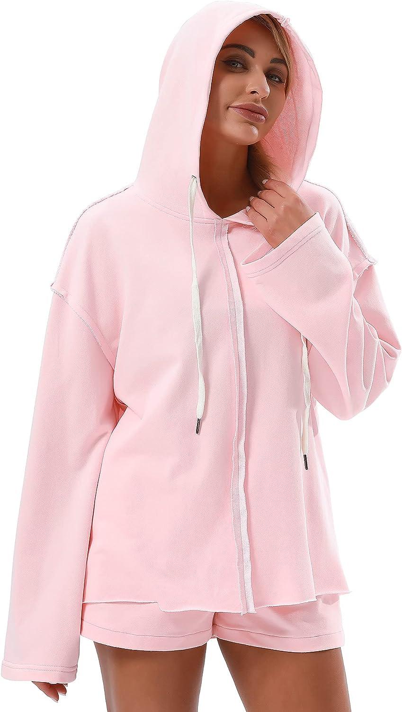 AESCONDO Raw Cut Oversized Hoodies Sweatshirts for Women Designer Trendy Lightweight Soft Cotton Pullovers Plus Size