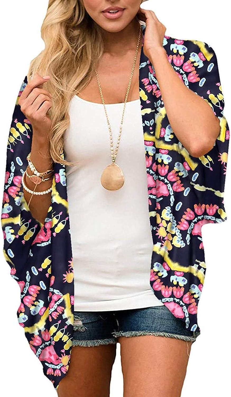 Cardigan for Women Chiffon Kimono Summer Casual Loose Shawl Blouse Open Cover Tops Sun Protection Beachwear