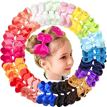 """JOYOYO 40Pcs 4.5"""" Hair Bows Alligator Clips Grosgrain Ribbon Big Bows Clips For Girls Toddlers Kids Children 20 Colors In Pairs"""
