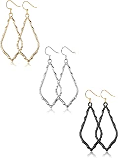 3 Pairs Dangle Earrings For Womens Silver Black Gold Plated Lightweight Geometric Earrings