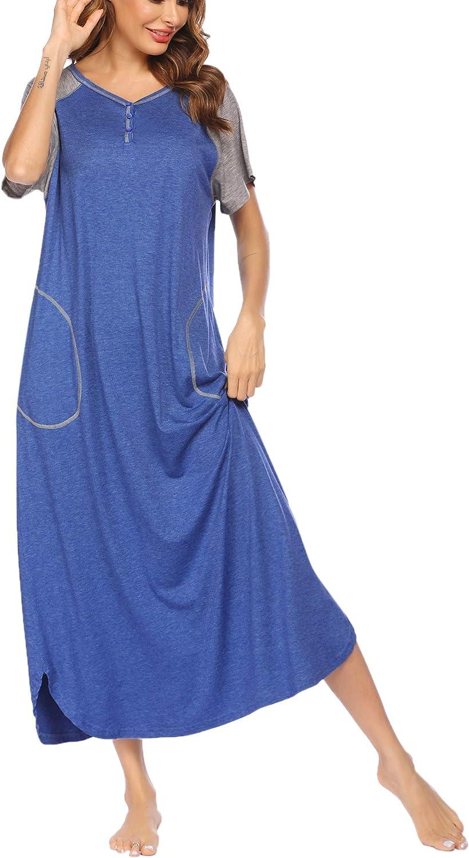 luxilooks Sleepwear Women's Loungewear Long Nightgown Casual Nightshirt Long Full Length Nightdress with Pockets Black