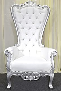 American Home Design Silver Baroque Hand Carved Throne Chair with White Vinyl & Crystal Buttoning
