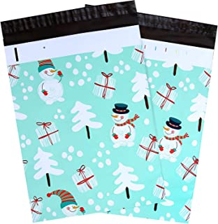 100 Pcs 10x13 Snowman Designer Poly Mailers, Ohuhu Christmas Envelopes Shipping Bags with Self Seal Adhesive, Waterproof and Tear-Proof Postal Bags