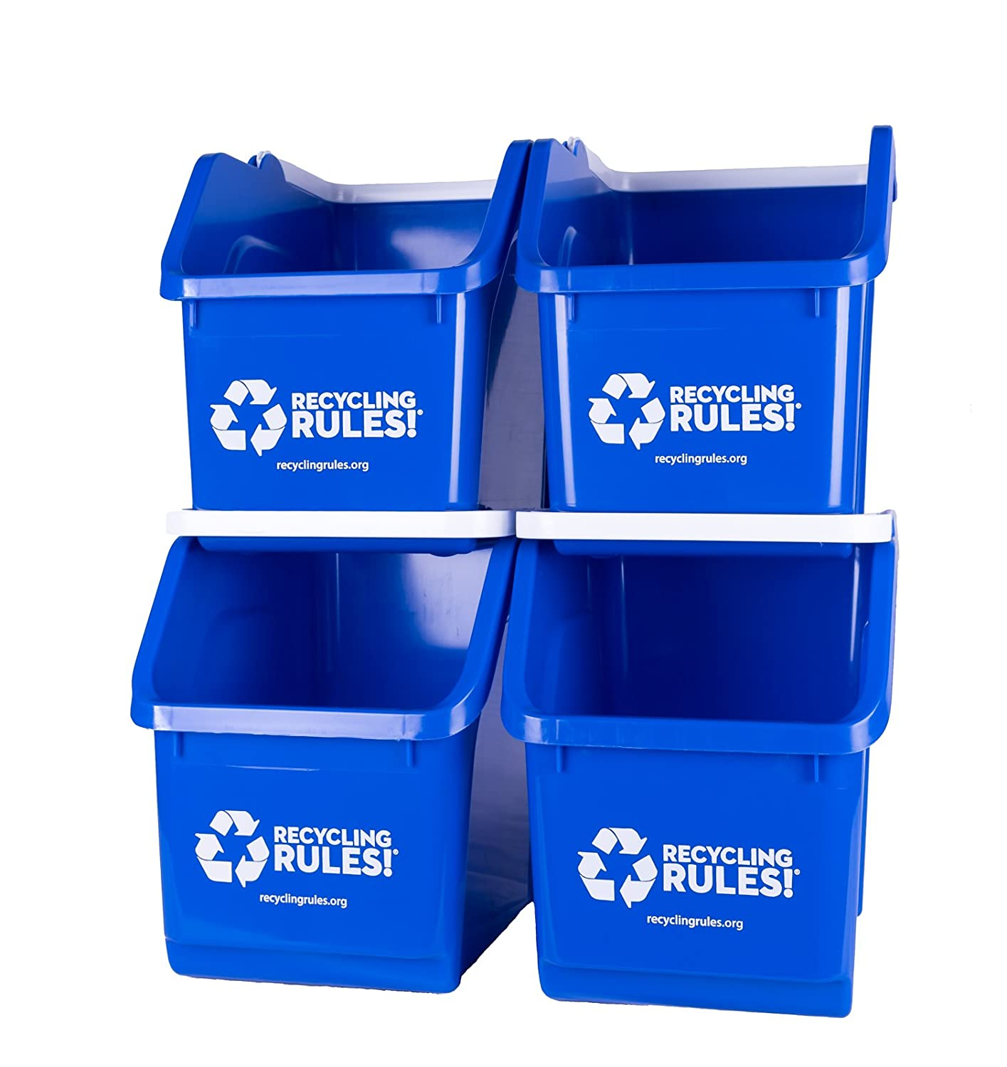 4 Directly managed store Pack of Bins - Blue Han Stackable Container with Recycling Outstanding Bin