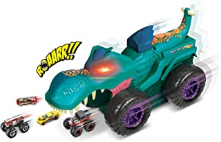 Hot Wheels Monster Trucks Car Chompin' Mega Wrex Giant Vehicle with Lights and Sound Effects, 1:64 Scale Die-Cast Toy Tru...