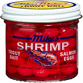 Mike's 1012 Shrimp Salmon Eggs, 1 3/5-Ounce Jar, Fluorescent Red