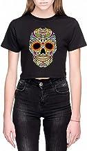 Mexicaans- Kleur Schedel Dames Crop T-Shirt Zwart ...