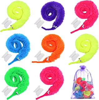 Cooraby 30 Pieces Magic Worm Toys Twisty Fuzzy Worm Carnival Party Favors with a Organza Bag, 6 Colors (Color Style A)