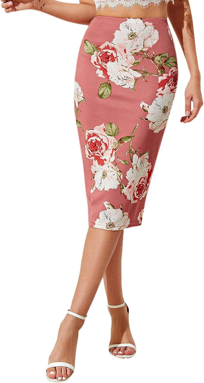 Floerns Women's Summer Floral Print High Waist Pencil Midi Skirt