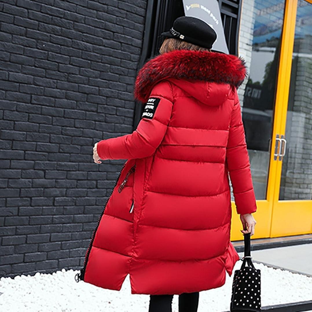 KEERADS Damen Warm Winterjacke Parka Jacke Mantel Lange Mit Fellkapuze Steppjacke Wintermantel Rot