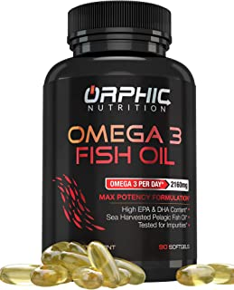 Omega 3 Fish Oil Supplements Max Potency Burpless Lemon Flavored Capsules 3600mg - Essential Fatty Acids Supplement for He...