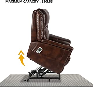 Aoxun Electric Power Lift Recliner Chair Sofa with Massage and Heat for Elderly, Remote Control Pu Leather Lounge(Brown)
