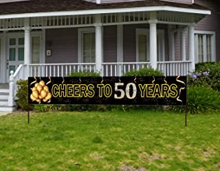 Large Cheers to 50 Years Banner, Black Gold 50 Anniversary Party Sign, 50th Happy Birthday Banner