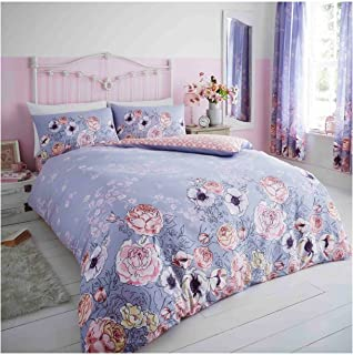 GAVENO CAVAILIA Easy Care Floral Duvet Cover Soft and Cozy Reversible Flower Print Quilt Bedding Set, Polycotton, Lilac, D...