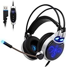 SADES SA908 USB Gaming Headset for PC, 7.1 Surround Sound Computer Gaming Headphones, PC Headset with Noise Canceling Mic Volume Control LED Light for PC Mac Laptop(Black)