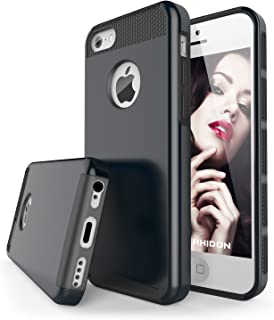 iPhone 5C Case, Rhidon 2 in 1 PC + Silicone Shock Absorbin Armor Defender Anti-Slip Protective Cover for iPhone 5C (Black)