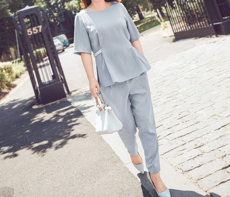 Haiyugua Large Size Summer Dress Female Fat mm Striped Suit Shirt Nine Pants