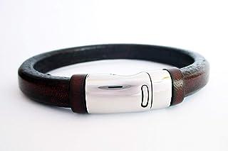 Bracciale cuoio marrone liquirizia, braccialetto in pelle, bracciale da uomo, regali uomo, bracciale di cuoio, accessori p...