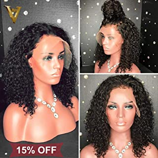 ALI V Hair 360 Lace Frontal Wig Pre Plucked For Black Women 150% Density 360 Full Lace Wigs Curly Human hair Bleached Knots with Baby Hair (10inch with 150% Density)