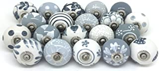 JGARTS 20 Knobs Grey & White Cream Hand Painted Ceramic Knobs Cabinet Drawer Pull Pulls