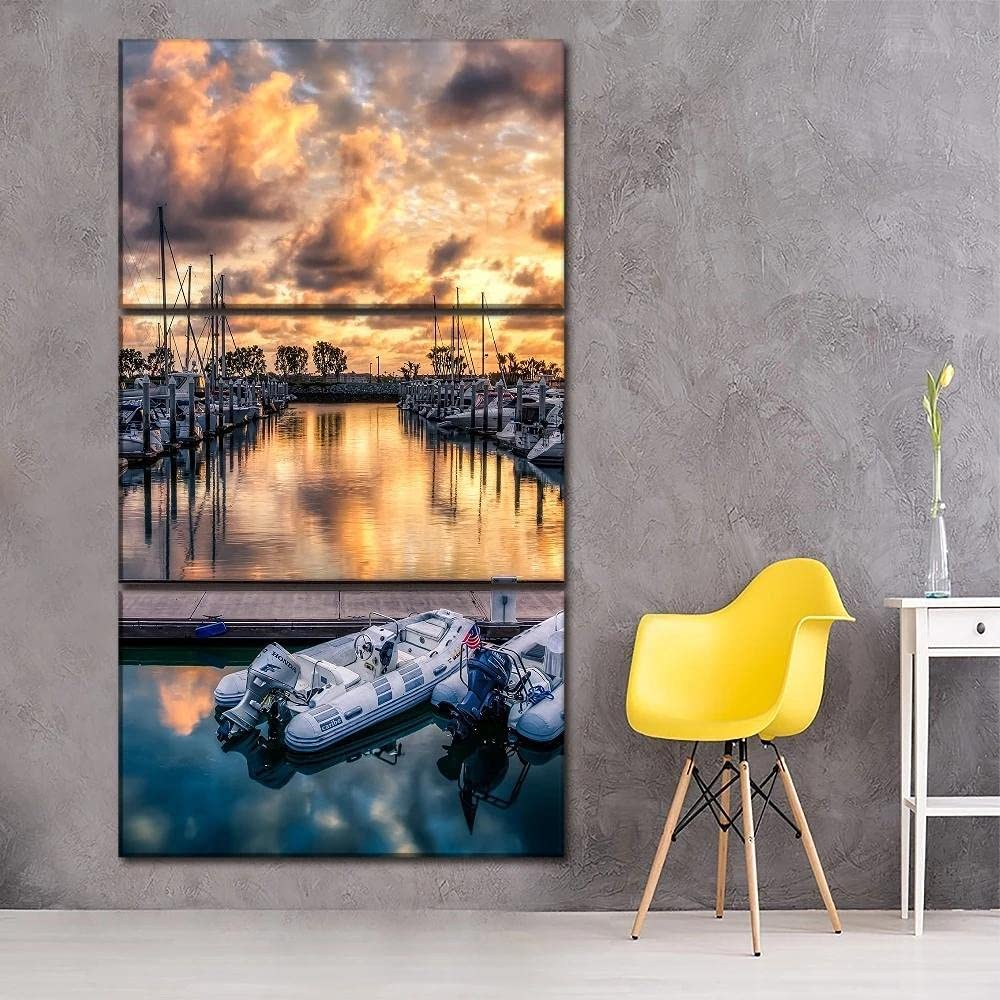 Limited Special Price 3 Piece Canvas Poster Harbor Luxury Sunset Ship Landscape Artwo