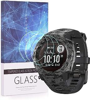 UIQELYS 3-pack skärmskydd för Garmin Instinct Solar Smartwatch full täckning 2.5D 9H hårdhet härdat glas skyddsfilm repbes...