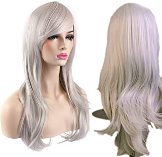 AKStore Women's Heat Resistant 28-Inch 70cm Long Curly Hair Wig with Wig Cap, White