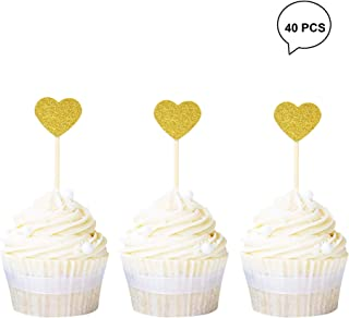 Newqueen Gold Glitter Heart Cupcake Toppers Sweet Love Theme Cupcake Picks Wedding Engagement Bridal Shower Birthday Party Cake Decorations 40 PCS