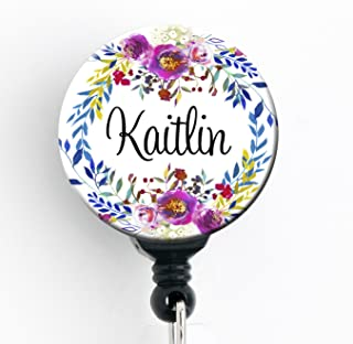 Retractable Badge Reel - Watercolor Floral Wreath - Personalized Name - Badge Holder