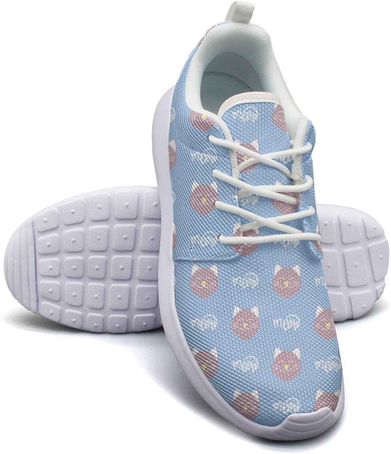 Cute Cat Face Meow bluee Background Women's Lightweight Mesh Sneakers Exclusive Gym shoes