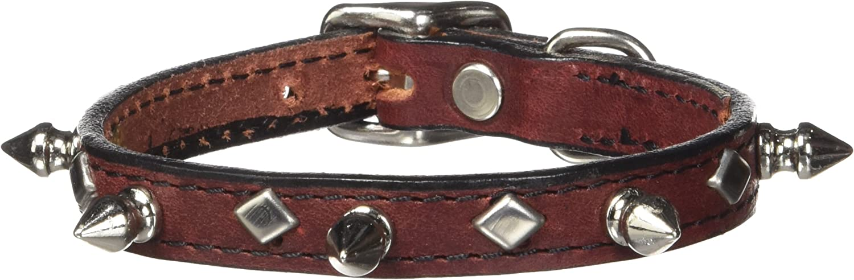 Hamilton LMS1 12BU 1 2Inch x 12Inch Burgundy Leather with Spikes and Diamond Pattern Dog Collar