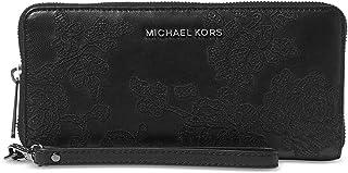 Michael Michael Korsレースレザー大ジェットセット旅行コンチネンタルウォレット、ブラック