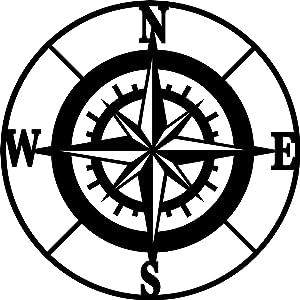 "Vivegate Nautical Compass Wall Decor – 11.5""X11.5"" Black Metal Compass Outdoor Wall Art Nautical Large Outdoor Beach Home Aviation Decor"