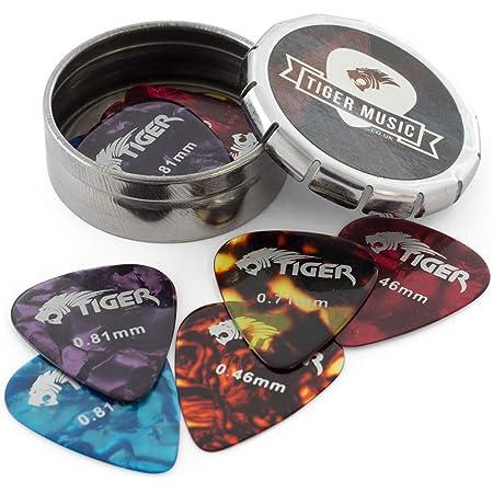 Tiger GAC14 10 - Púas para guitarra en caja, Calibre mixto, Multicolor (Celluloid)