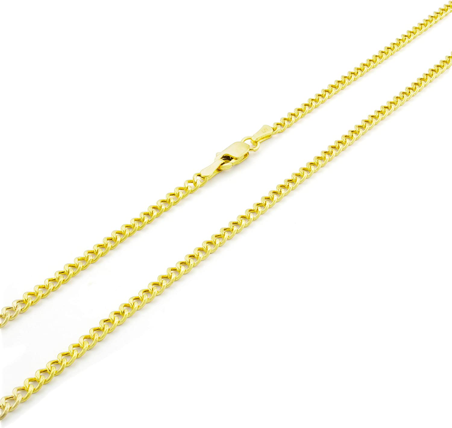 Nuragold 14k Yellow Gold 2.5mm Cuban Curb Link Chain Pendant Necklace, Mens Womens Lobster Lock 16