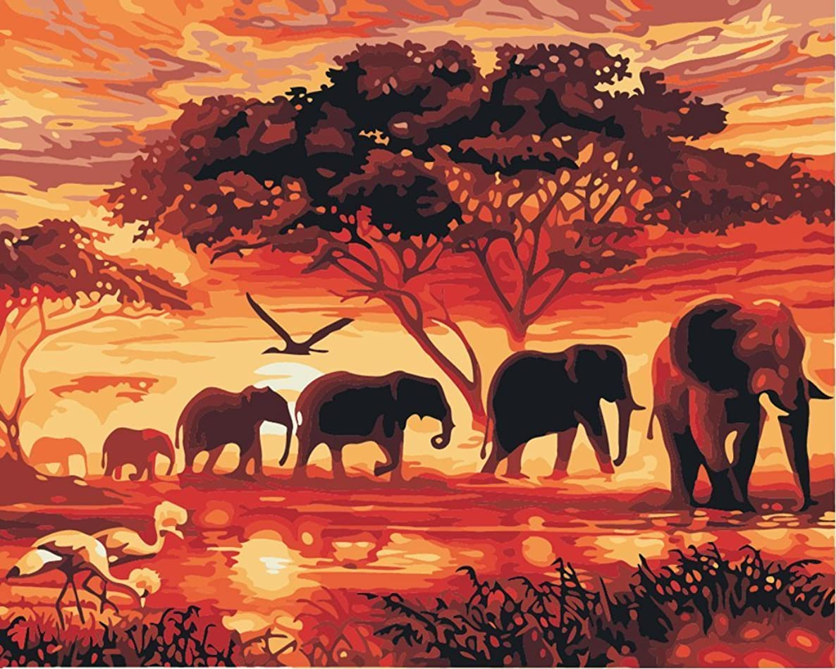 YEESAM Art New DIY Paint by Number Kits for Adults Kids Beginner - Sunset Elephant Group 16x20 inch Linen Canvas - Stress Less Number Painting Gifts (Without Frame)