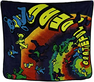 Zeckos Grateful Dead Tie Dye Rainbow Spiral Dancing Bears Plush Throw Blanket