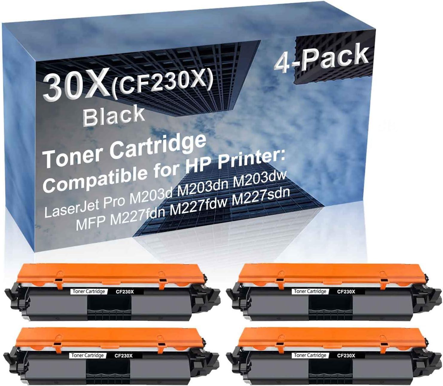 4-Pack Compatible High Yield MFP M227fdw M227sdn?Laser Printer Toner Cartridge Replacement for HP 30X (CF230X) Printer Cartridge (Black)