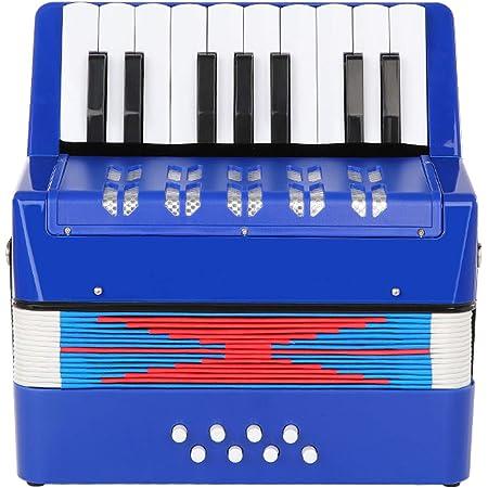 Topnaca Accordéon à 17 Touches Bouton et 8 Basses, Mini Accordéon Piano Instrument de Musique Pédagogique, Accordéon Jouet Éducation Musicale pour Enfants Adultes Débutants