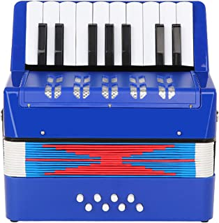 Topnaca Accordéon à 17 Touches Bouton et 8 Basses, Mini Accordéon Piano Instrument de Musique Pédagogique, Accordéon Jouet...