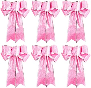 Beurio Pink Glitter Christmas Ribbon Bows Gifts Wreaths Wedding Party Decorations Hanging Ornaments, 6 pcs
