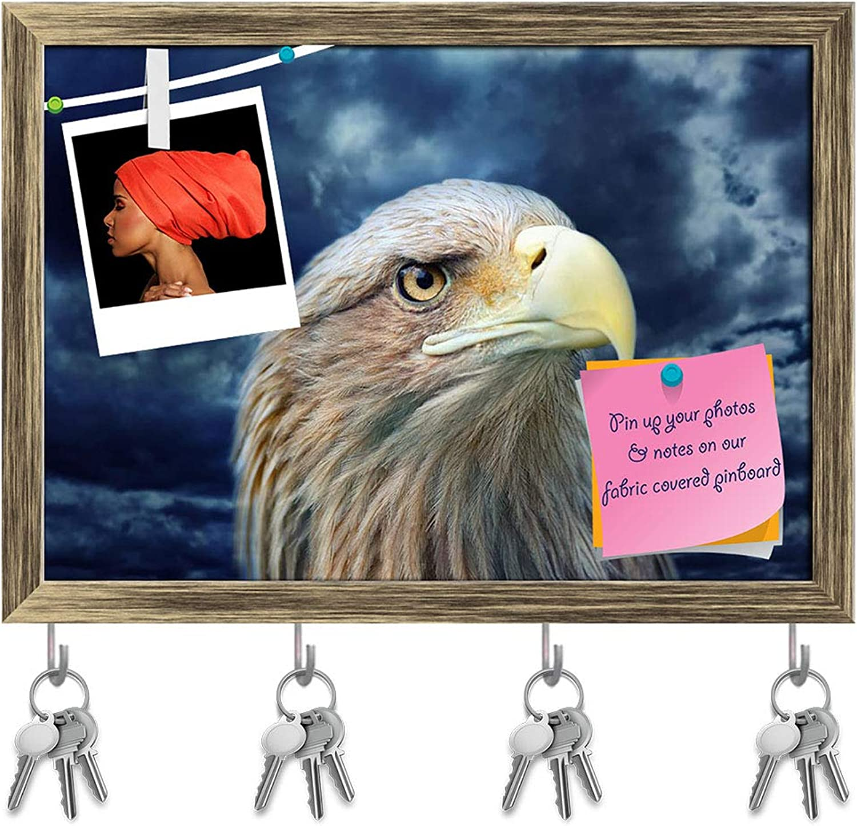 Artzfolio Eagle Face Key Holder Hooks   Notice Pin Board   Antique golden Frame 16.8 X 12Inch