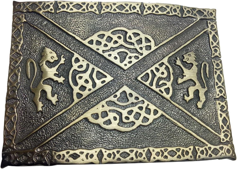 AAR Scottish Kilt Belt Buckle 2 Lions Celtic Knots Knots