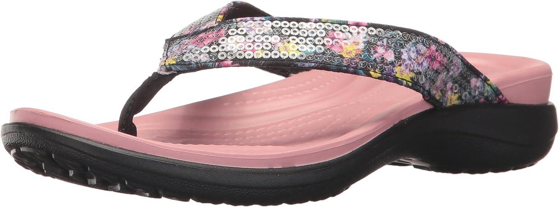 Crocs Women's Capri V Graphic Sequin W Flip Flop