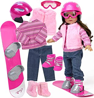 8 Piece Snowboard Set for Dolls | Snowboard, Boots, Helmet, Goggles, Outfit and Shoes for 18 in Dolls