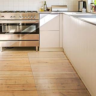 キッチンマット クリア PVC 60×240cm SALLOUS 大判 厚さ1.5mm クリアマット 台所マット 透明マット ソフト 撥水 おしゃれ 汚れ防止 お手入れ簡単 床暖房対応 滑り止め (240*60cm)
